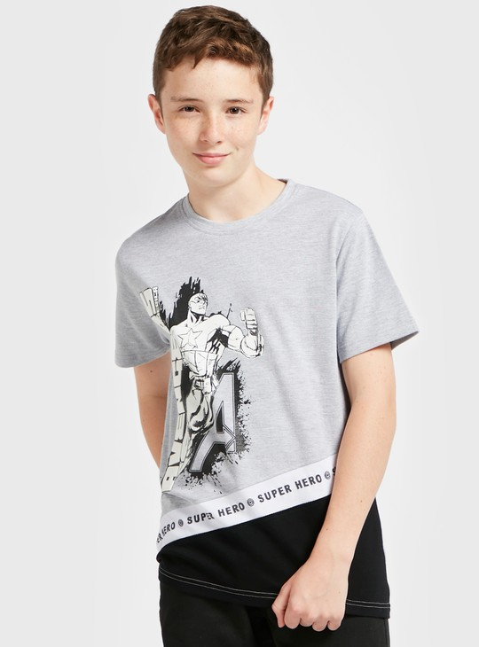 Avengers Panel T-shirt with Crew Neck and Short Sleeves