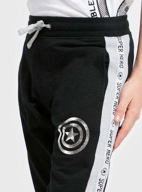 Captain America Print Jog Pants with Side Panel and Pocket Detail