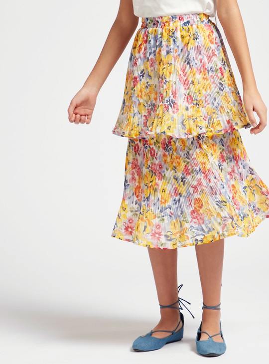 Floral Print Tiered Midi Skirt with Elasticated Waistband