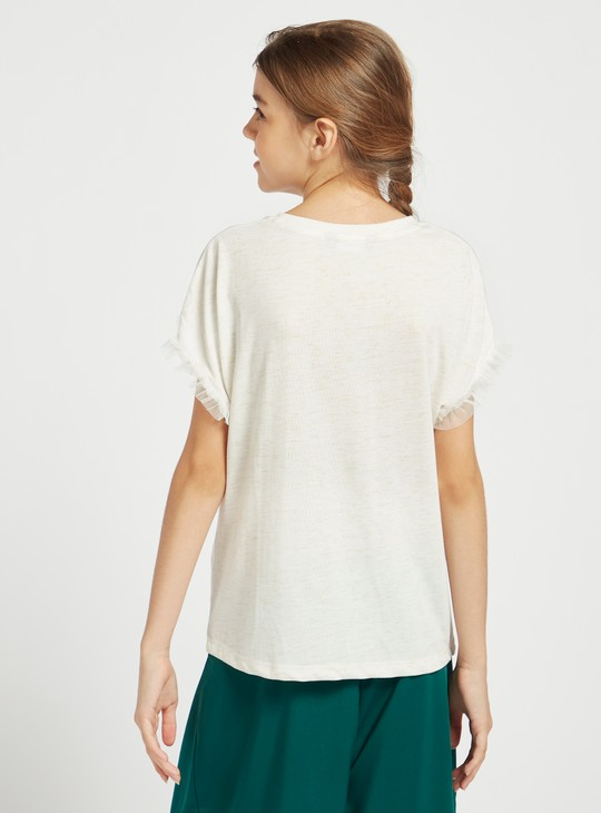 Printed Round Neck Tee with Short Sleeves