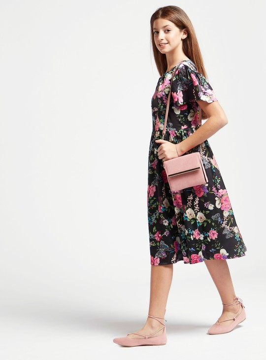 All-Over Floral Print Midi Dress with Round Neck and Short Sleeves