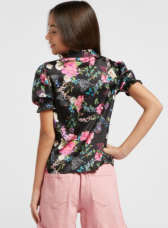 All-Over Floral Print Shirt with Spread Collar and Tie-Ups