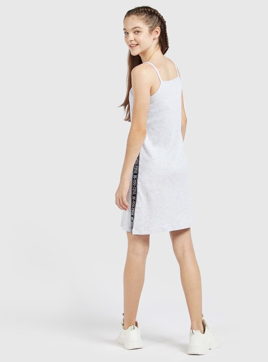 Printed Shift Dress with Straps and Tape Detail
