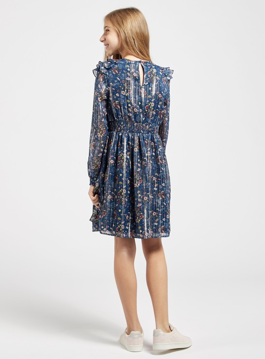 Floral Print Round Neck Dress with Long Sleeves and Ruffles