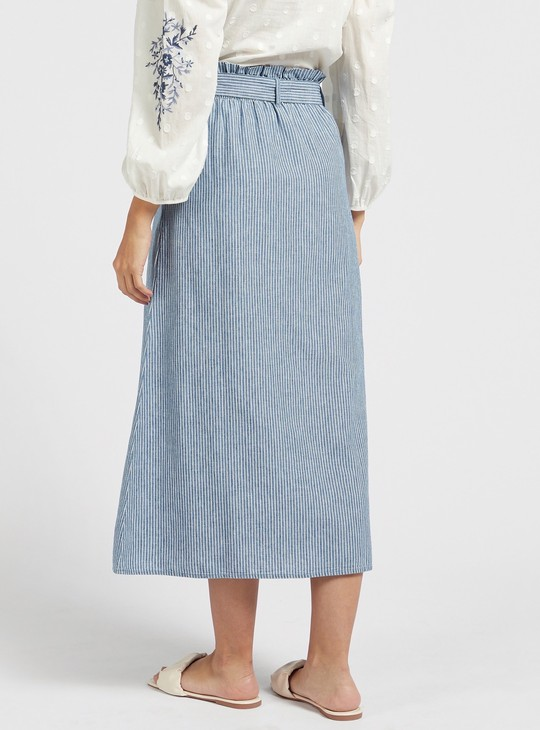 Striped Denim Midi Skirt with Pockets and Elasticated Waistband
