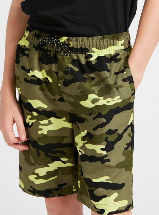 All-Over Camouflage Print Shorts with Pockets and Drawstring Closure