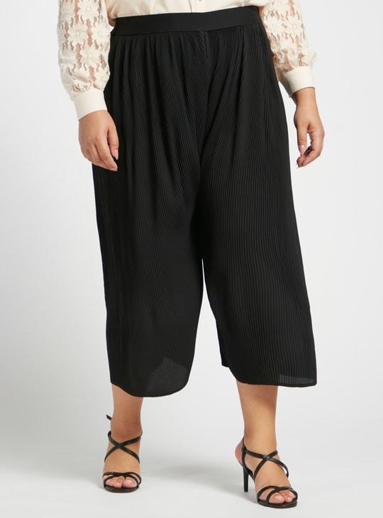Calf Length Pleated Culottes with Elasticised Waistband