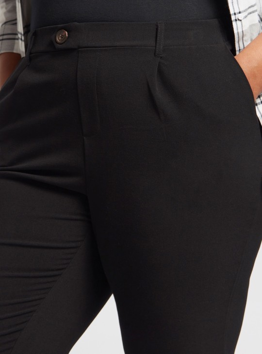 Solid Ankle-Length Pants with Pockets and Belt Loops