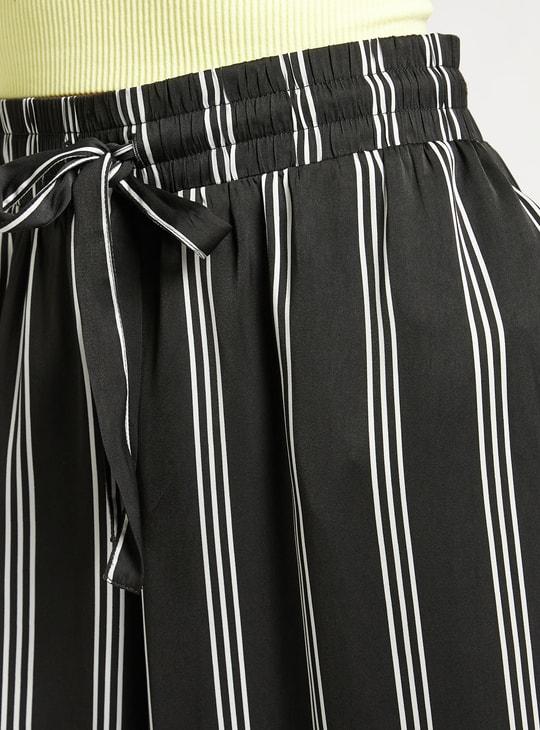 Satin Striped Wide Leg Palazzos with Tie-Up Waist