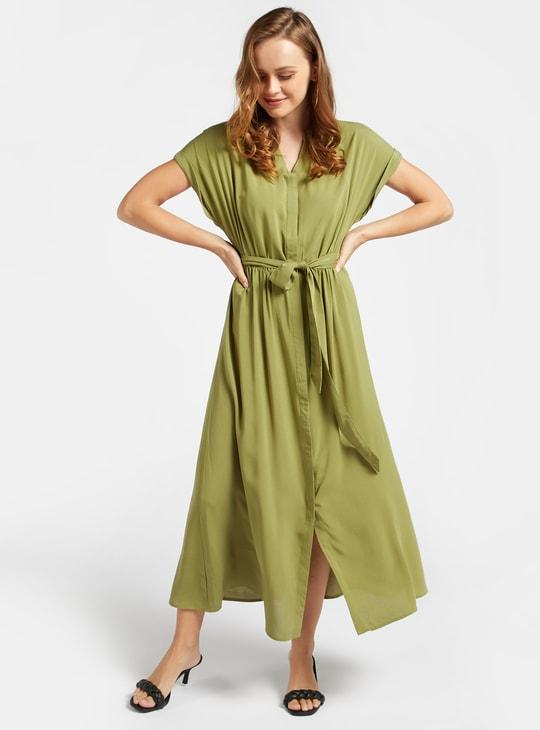 فستان قميص ميدي سادة بأكمام متصلة وأربطة