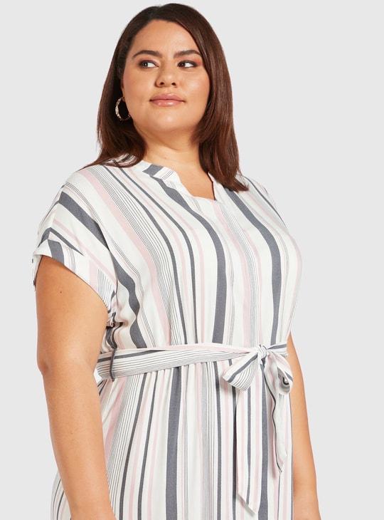 فستان قميص ميدي مخطط بأكمام متصلة وأربطة
