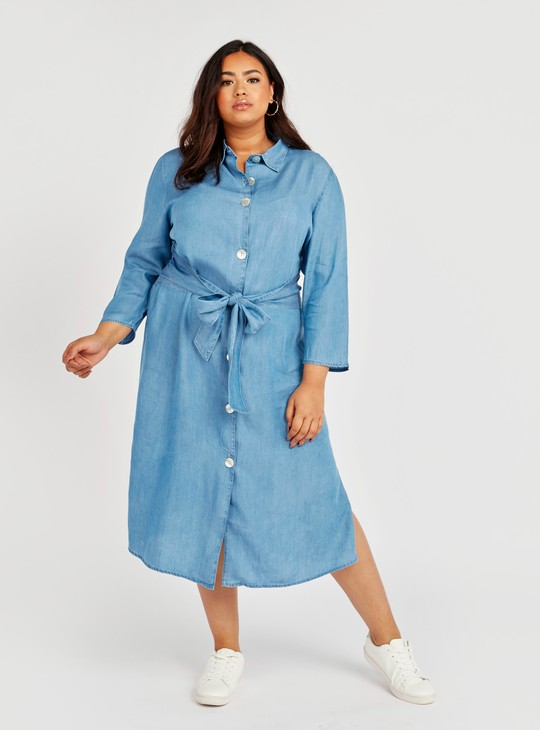 Solid Denim A-line Shirt Dress with  Long Sleeves and Tie Ups
