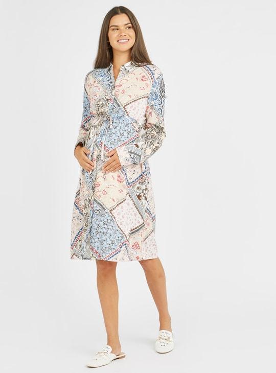 فستان قميص للحوامل متوسط الطول بأكمام طويلة وأربطة وطبعات