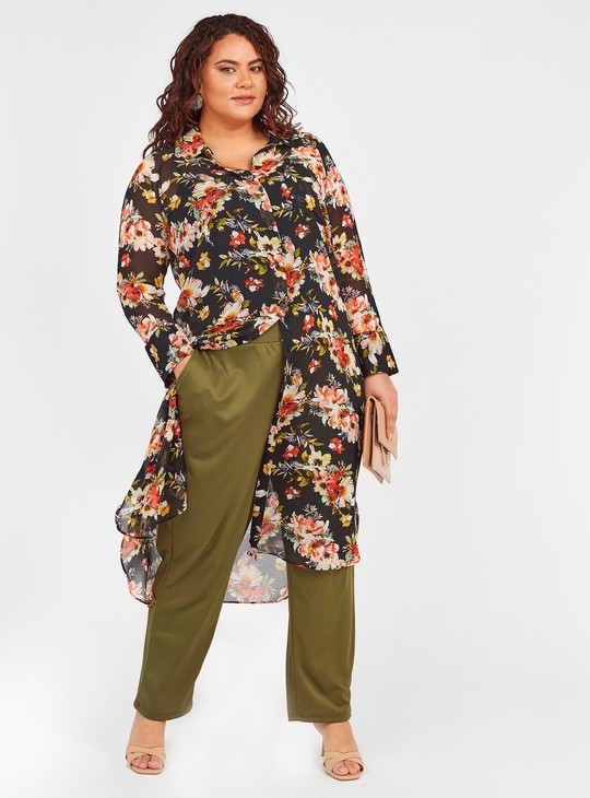 Solid Pants with Pocket Detail and Elasticised Waistband