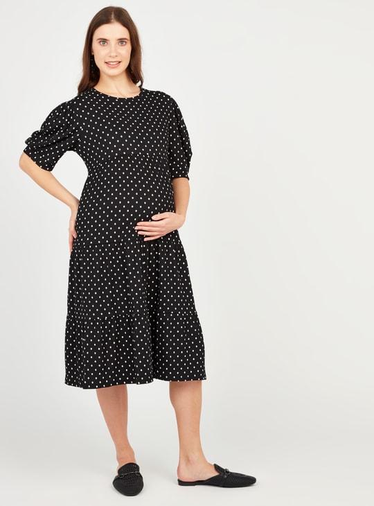 فستان ميدي إيه لاين بأكمام 3/4 منفوشة وطبعات منقطة للحوامل