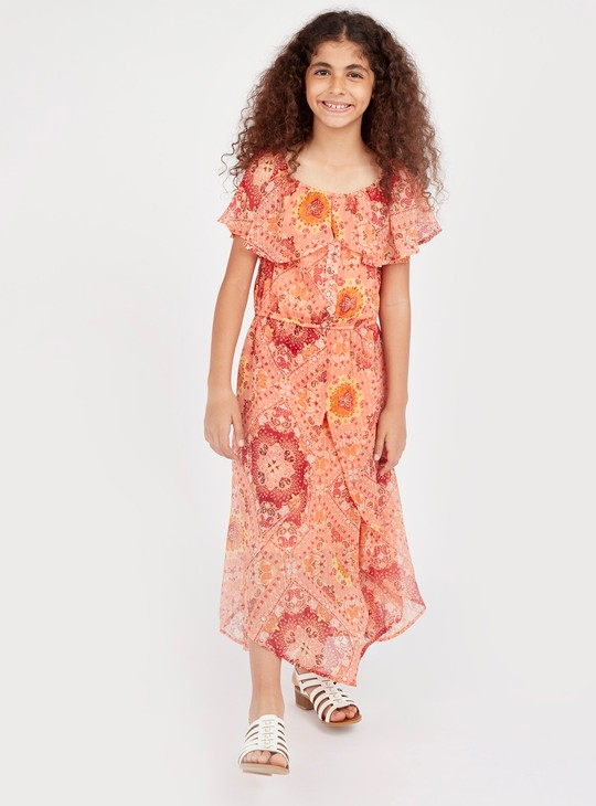 Printed Dress with Short Sleeves and Frill Detail