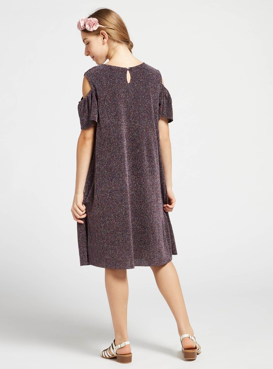 Shimmery Textured Dress with Cold-Shoulder Sleeves