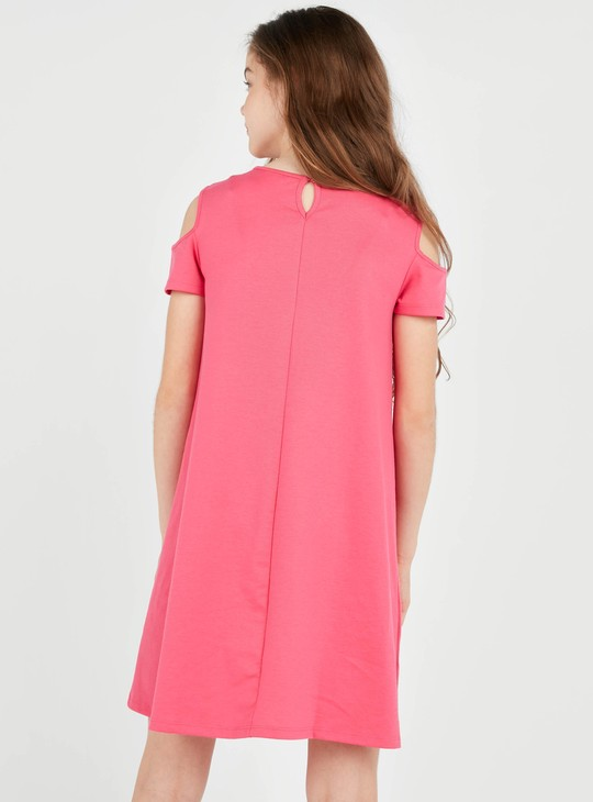 Reversible Sequin Embellished Round Neck Dress with Short Sleeves