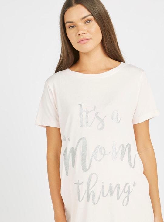 Maternity Typographic Print Sleep Dress with Round Neck