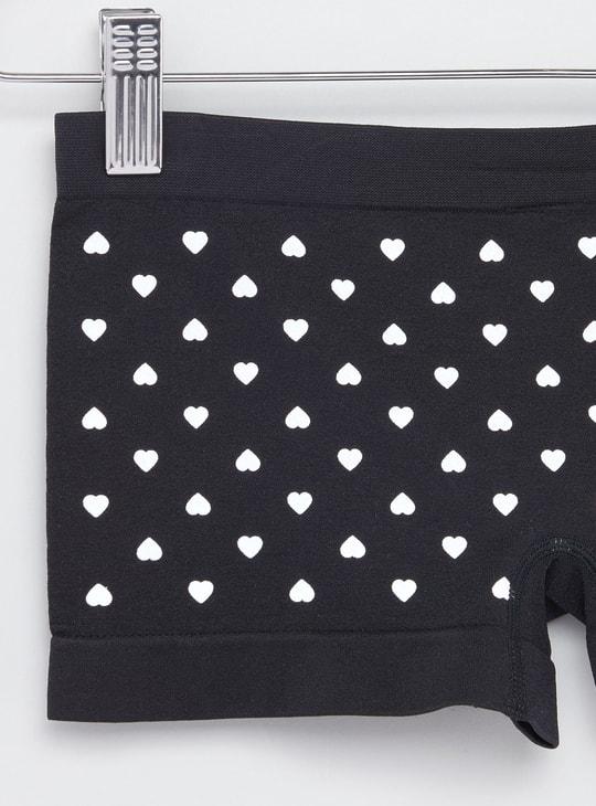 سراويل داخلية بطبعات قلب وخصر مطاطي - طقم من 2 قطع