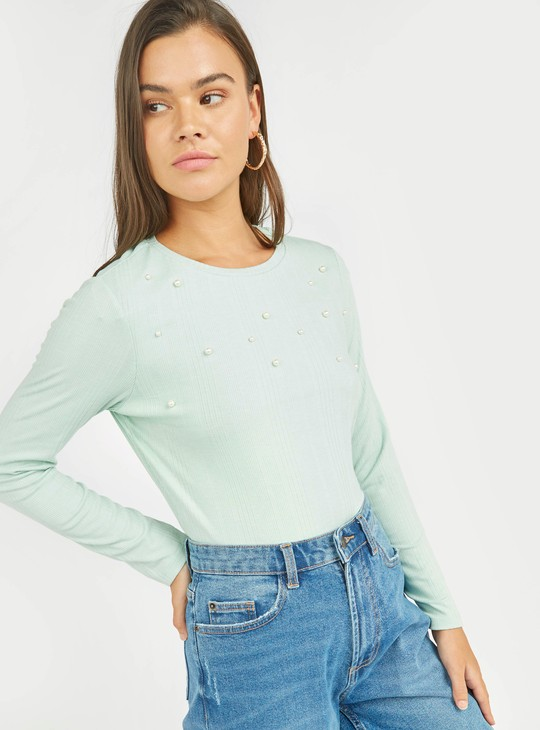 Textured Top with Long Sleeves and Pearl Detail