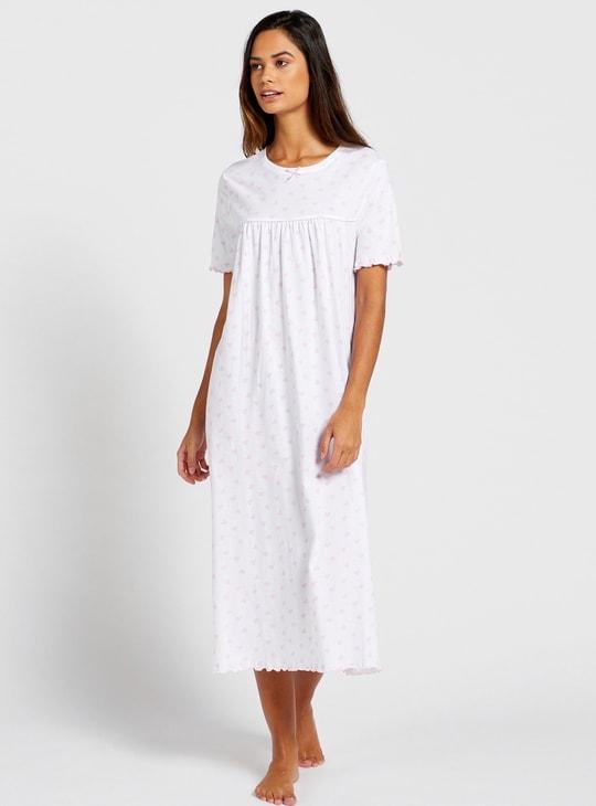 ثوب نوم بياقة مستديرة بأكمام مستديرة بطبعات