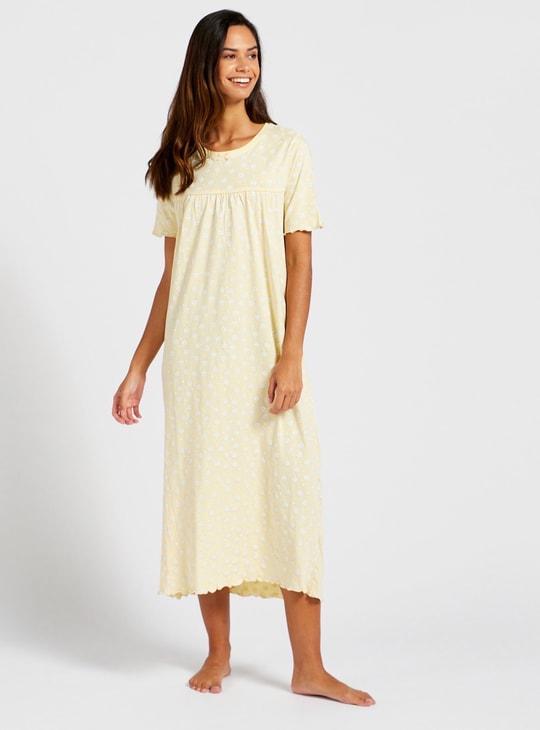 ثوب نوم بطبعات أزهار وياقة مستديرة وأكمام قصيرة