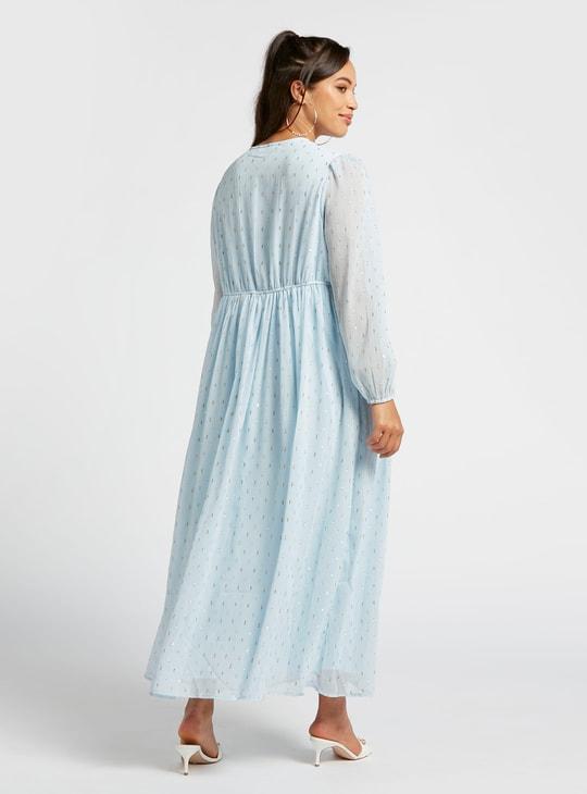فستان حوامل إيه لاين طويل بارز الملمس بأكمام طويلة