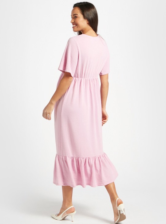 Textured Knit Midi Tiered Maternity Dress with Short Sleeves