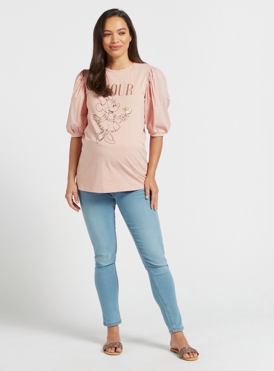 Minnie Mouse Print Maternity Top with Round Neck and Puff Sleeves