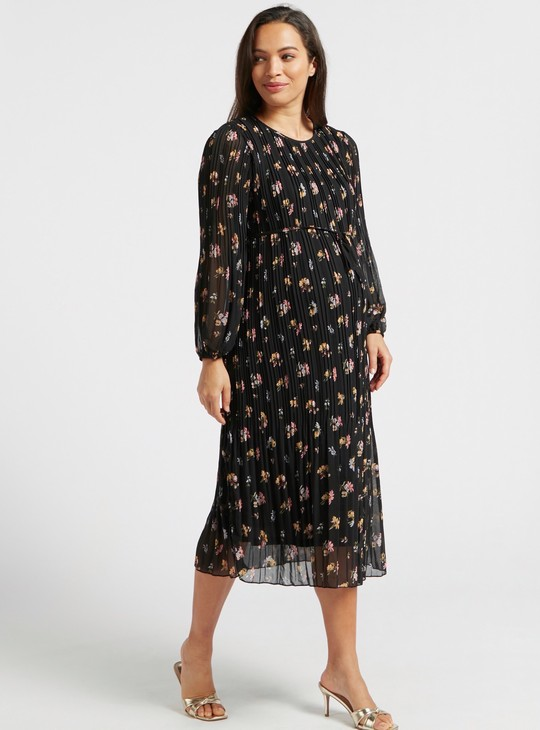 فستان حمل ميدي إيه لاين بطبعات زهور وثنايا