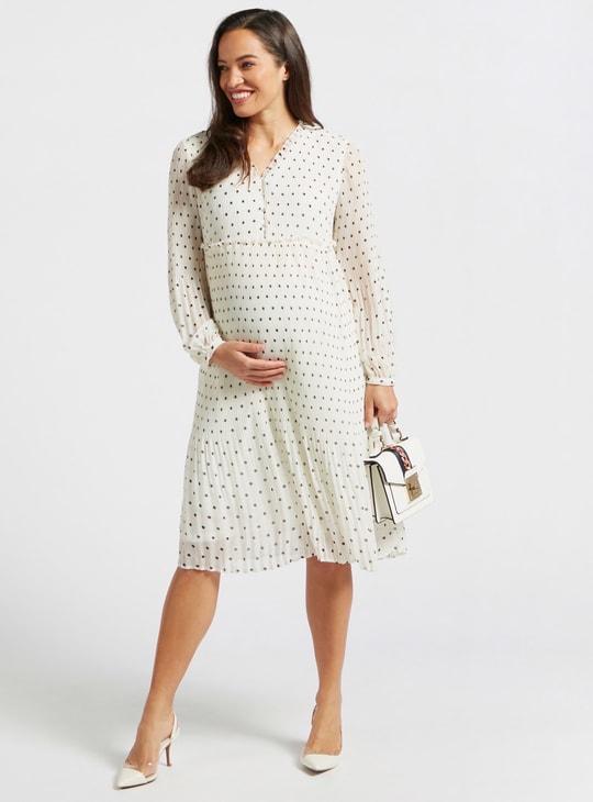 Polka Dots Print Pleat Detail A-line Maternity Dress