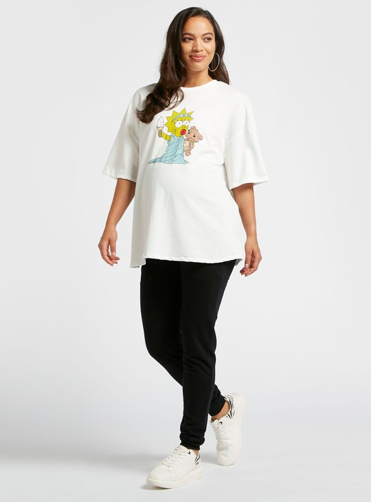 Simpsons Print Maternity T-shirt with Round Neck and Short Sleeves