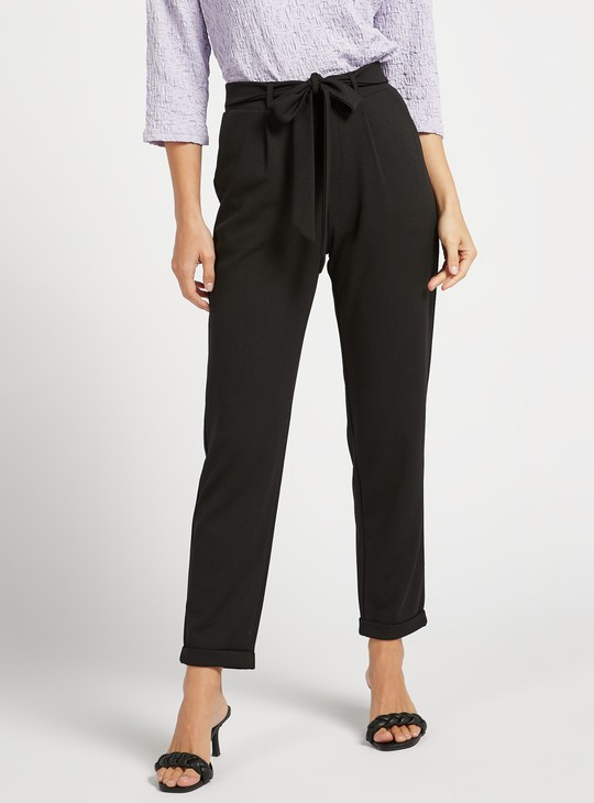 Solid Mid-Rise Pants with Pocket Detail and Tie-Ups