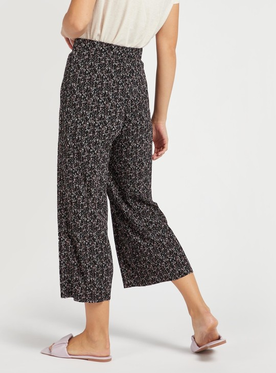 All-Over Print Mid-Rise Culottes with Elasticised Waistband