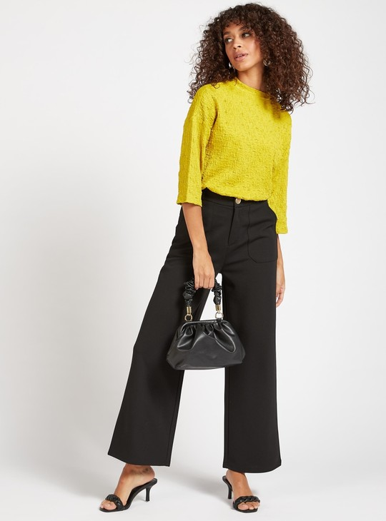 Wide Fit Solid Mid-Rise Pants with Pocket Detail and Belt Loops