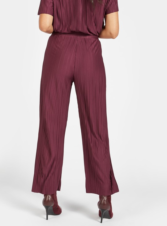 Textured Mid-Rise Palazzo Pants with Tie-Ups