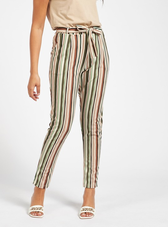 Striped Mid-Rise Pants with Belted Waist and Pockets