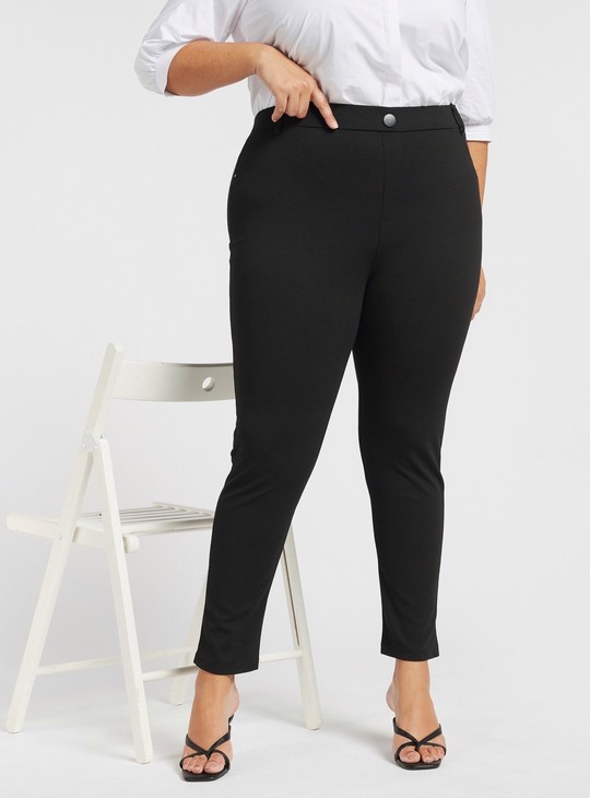 Mid-Rise Skinny Fit Solid Ponte Pants with Elasticated Waistband