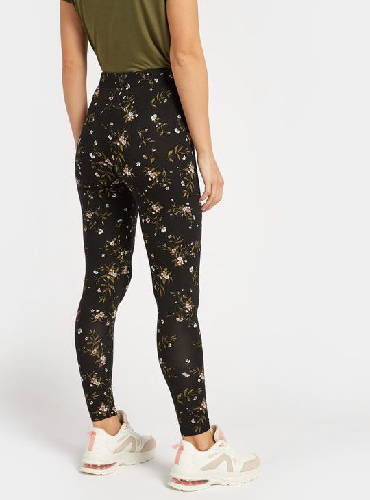 Full Length All-Over Floral Print Leggings with Elasticised Waistband