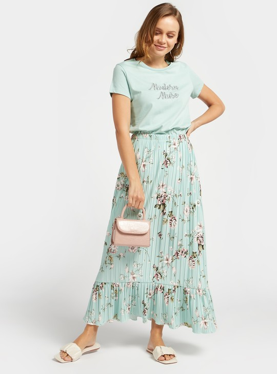 تنورة طويلة كشكش بخصر مطّاطي وطبعات أزهار