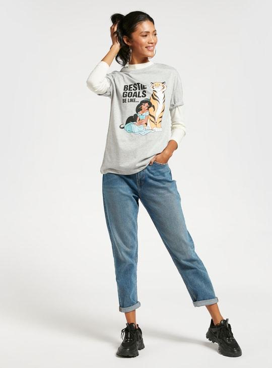 Princess Jasmine Printed Longline T-shirt with Short Sleeves