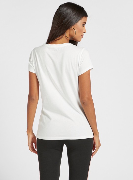 Typographic Print Round Neck T-shirt with Cap Sleeves