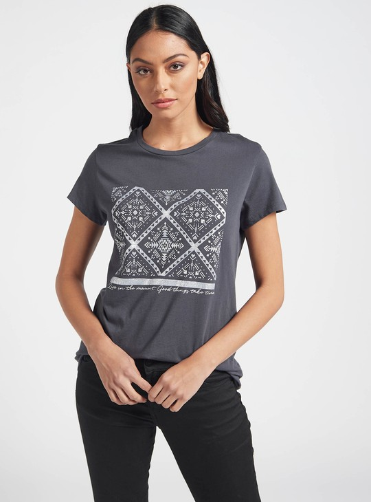 Abstract Print T-shirt with Round Neck and Short Sleeves