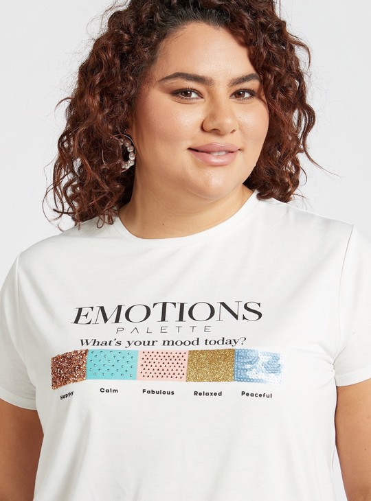 Graphic Print T-shirt with Round Neck and Embellished Detail