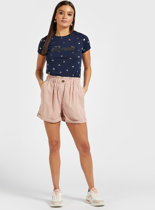 All-Over Foil Print T-shirt with Round Neck and Embellished Detail