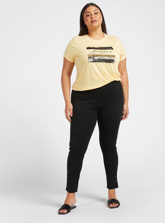 Sequin Embellished T-shirt with Round Neck and Cap Sleeves