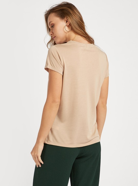 Print Detail T-shirt with Round Neck and Cap Sleeves