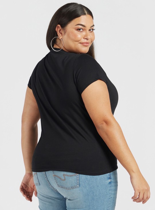 Tweety Sequin Detail T-shirt with Round Neck and Cap Sleeves