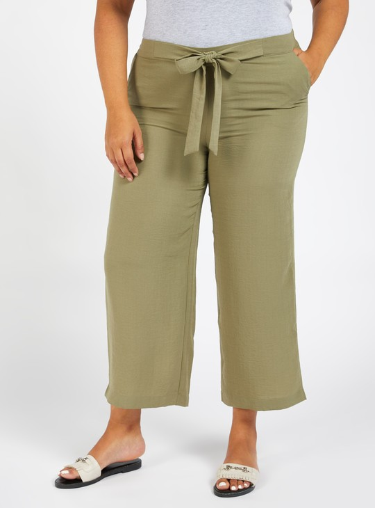 Solid Ankle-Length Palazzos with Pockets and Tie-Ups